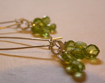 Jen    -  Faceted Peridot Sterling silver Dangle Earrings   -  Drama  -  Elegance - Classy  - Handcrafted