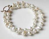 Freshwater Pearl Necklace White Ivory Crystal Beaded Bridal Wedding Jewelry Pearl Jewelry Under 50 Gifts