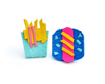 Food Post Stud Earrings, Neon Leather Earrings, Post Stud Earrings, Hot Dog Earrings, Fries Earrings, Miniature Food Studs, Food Earrings