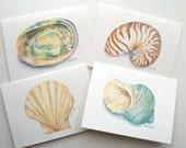 Seashell Watercolor Painting Note Card Set of 4 - Seashell Greeting Card Set - Ocean Beach Cards