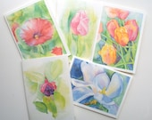 Floral Watercolor Painting Cards Set of 5 - 5 x 7 Greeting Cards