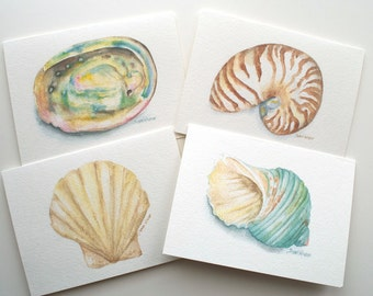 Seashell Watercolor Painting Note Card Set of 4 - Seashell Greeting Card Set - Ocean Beach Cards