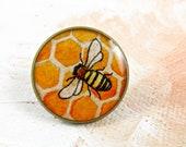 Bee little brooch-- RETIRING JUNE 6 -- wearable art for him, pin back
