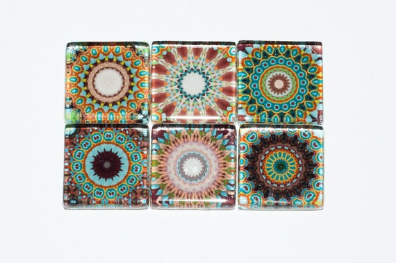 Mandala Magnets - Set of 6 Square Glass Magnets in Earth tones, brown, green, tan, beige (E3)