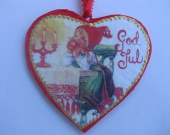 """Heart shaped Paper-Mache' """"Girl with apple"""" Ornament"""