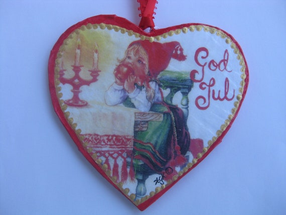 "Heart shaped Paper-Mache' ""Girl with apple"" Ornament"