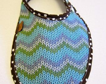 """Chevron """"Knitted"""" Print Fashion Drool Bib"""