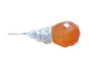 Gemstone Silver Pendant - Orange Chalcedony Pendant - Tangerine Pumpkin Orange Stone Wire Wrapped Pendant