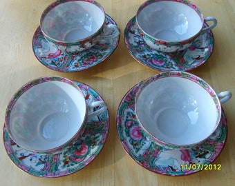 Rose Medallion Hand Painted China Cups and Saucers (set of 4 ) Bone China Coffee/Tea Cups