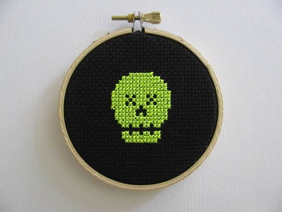 Halloween decor - skull neon yellow cross stitch