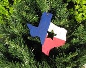 Wooden Christmas Ornament - Texas State Shape with Star