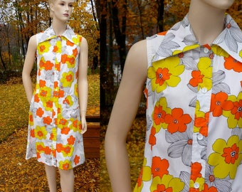 Vintage Scooter Shirtwaist Dress, Orange and Yellow Print, Butterfly collar, medium