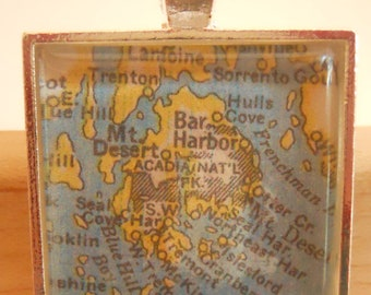 Bar Harbor Maine Map Pendant
