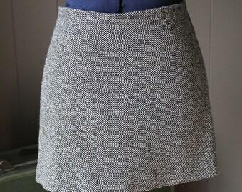 Designer Mini Skirt Silk and Wool Tweed Mini Jacqueline Conoir 80s mini