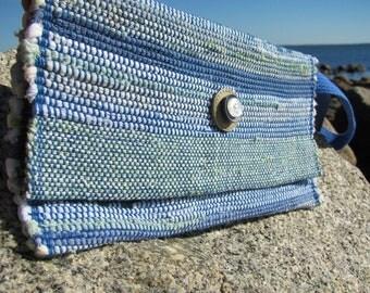 Clutch Purse, Clutch Wallet, Boho Summer Travel Clutch Nautical Handbag Eco Blue Green Hand Woven Cotton Fabric Passport Wallet Cosmetic Bag