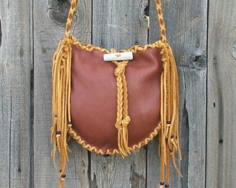 Bohemian leather tote ,  Fringed leather handbag ,  Leather carry all ,  Leather shoulder bag