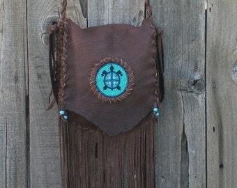 Leather handbag with fringe , Beaded leather crossbody handbag , Fringed leather shoulder bag , Turtle totem bag , Designer Handbag