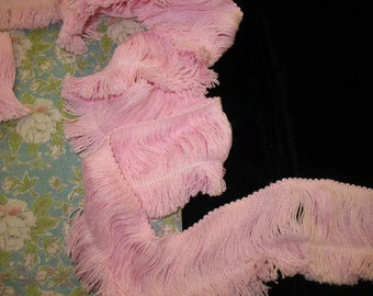 "Cotton fringe 10 yards 3"" length pink cotton fringe trim"