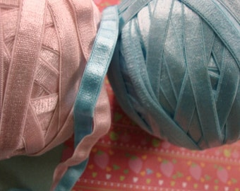 """6 yards 3/8"""" width ( hand dyed ) light pink and light blue satin elastic / stretch satin ribbon"""