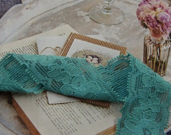 "3 yards 1"" width ( 25 mm ) Victorian Blue double side stretch lace trim"