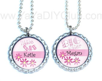 Big Sister Little Sister Necklace - Personalized Bottle Cap Necklace,personalized children accesories, Sisters gift