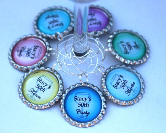 50th Birthday Party Favors, 40th Birthday Favors - Custom Wine Charms - Bridal Shower Favors, Custom Quote,Custom Color