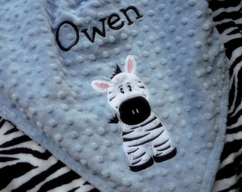 Personalized baby blanket minky- blue and zebra print- 30x35 stroller blanket