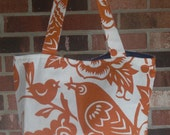 Medium tote in spice orange bird and floral print - STORE CLOSING. Everything discounted..