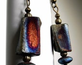 Renee Earrings--Artisan Made Raku Beads, Colorful Luster Finish, Fire and Ice Patina, Modern, Rustic