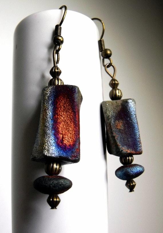 Renee Earrings--Artisan Made Raku Beads, Colorful Luster Finish, Fire and Ice Patina, Modern, Rustic