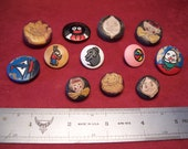 Vintage hand painted wooden buttons c1960s