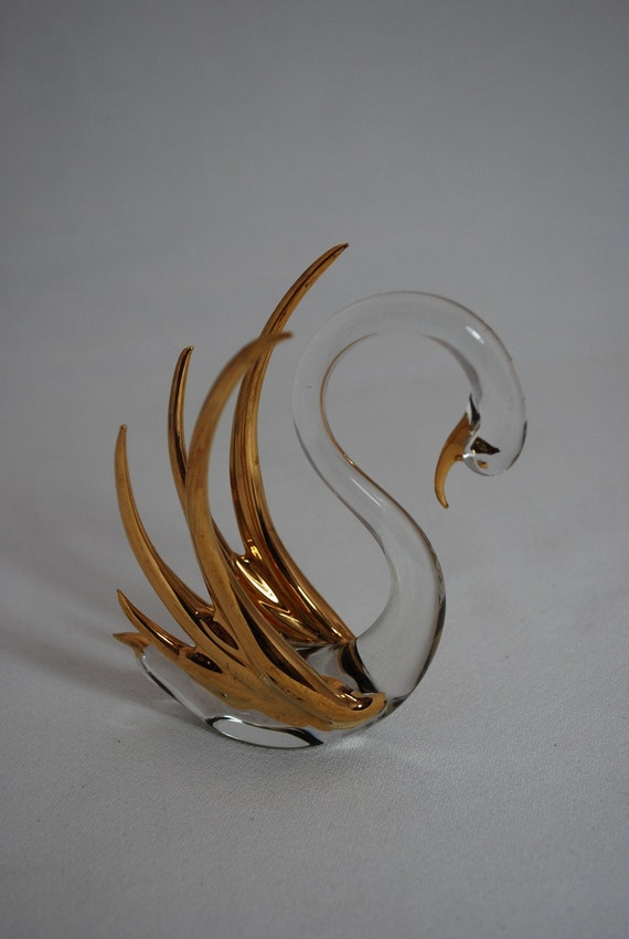 Vintage Blown Glass Swan with Gold Wings