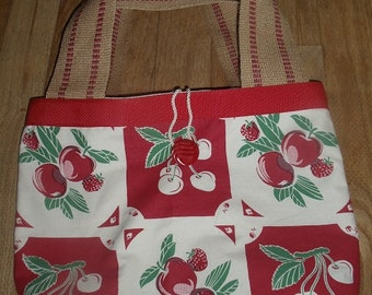 Cherry & Strawberry Handmade Market Tote Bag