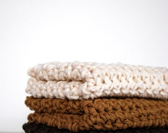 Chocolate, Carmelo and Vanilla Crochet Wash Cloths, Earth Tones, Handmade, Crocheted, Scrubbies