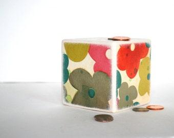Watercolor Flowers  Wood Bank - Piggy Bank