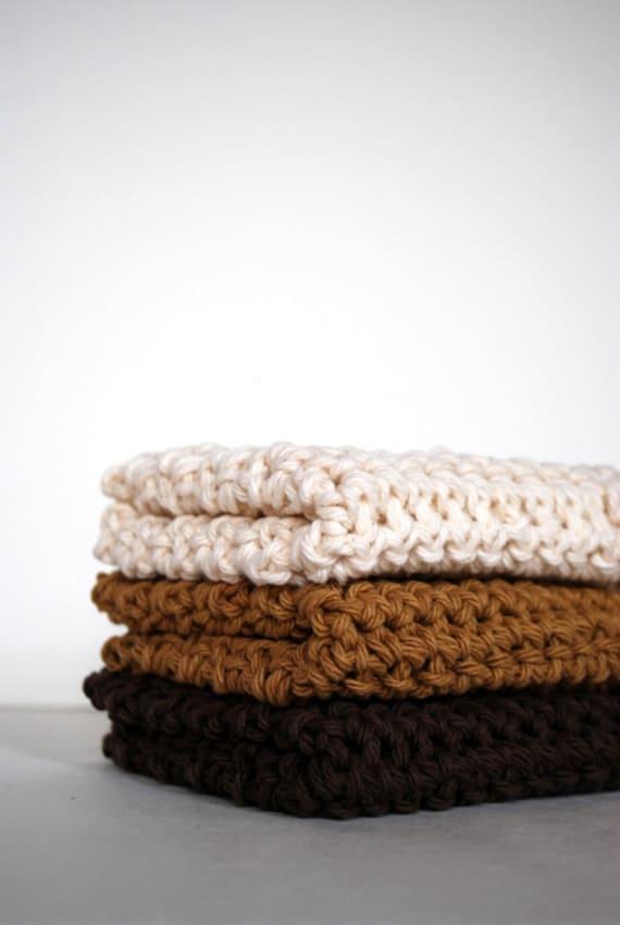 Chocolate, Carmelo and Vanilla Crochet Wash Cloths