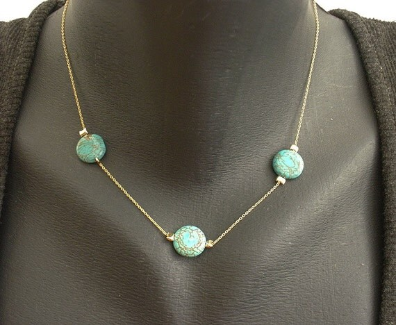 Turquoise necklace, Turquoise coin beads necklace, Gold filled Turquoise necklace