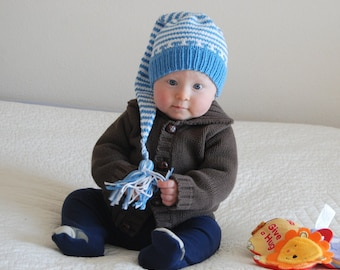 On Sale  Baby hand knit cotton  hat Pixie Elf 9-12 months  cord tassle  perfect photo prop cotton Made in Colorado