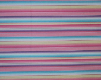 Sale- Le Papillon by Quilt Gate -- Full or Half Yard Pastel Pink, Purple, Yellow, Blue Stripe Quilting Fabric