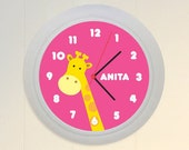 Personalized Giraffe Wall Clock for Children