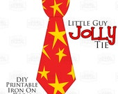 1 Little Guy Jolly Tie Christmas Star Printable Iron On Tie Decal, baby tie, boy Christmas Iron on tie for onesies shirts