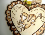 Rustic Just Married Heart Sign -Love Chicks, Heart and Arrow -Rustic weddind -Personalizable