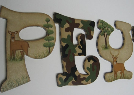Camo Hunting Outdoor Theme Wall Letters With Buck Doe And