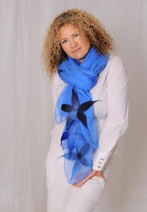 Black Friday and Cyber Monday sale - Blue scarf shawl for women with flover