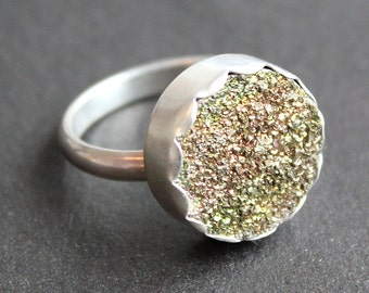 Rainbow Pyrite Drusy Ring with Sterling Silver Band (Size 7)- READY TO SHIP