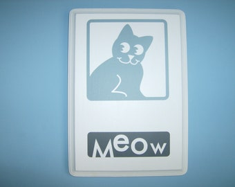 "SALE: Cat ""Meow"" animal wall plaque, decor"