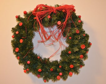 SALE: 18 inch evergreen wreath featuring vintage buttons, red, and a raffia bow