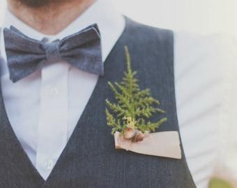 groomsmen wedding boutonniere, summer boutonniere, wedding, evergreen, woodland wedding, fern, natural keepsake 'Forest Floor'