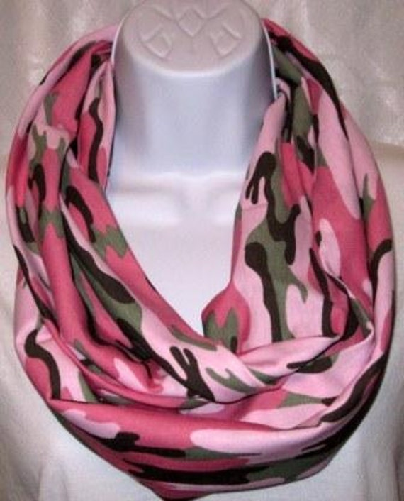 Infinity Scarf Pink And Green Camo By Ccsoneofakind On Etsy