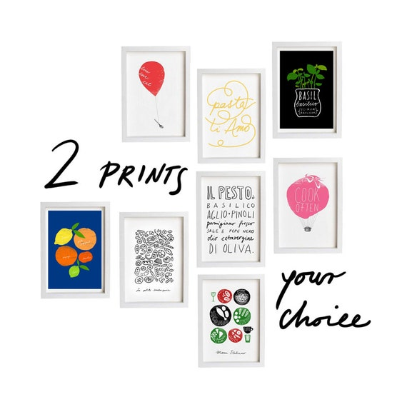 "Your Choice 2 Print Set - 2 x  8.3"" x 11.7"" - Set of 2 prints - Food art - fine art giclee prints"